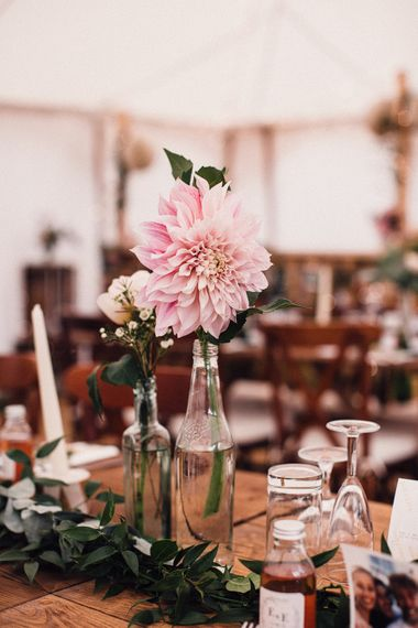 Individual stem centrepiece for budget wedding