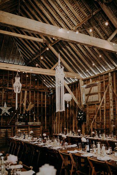 Hanging macrame rustic wedding decor for barn reception