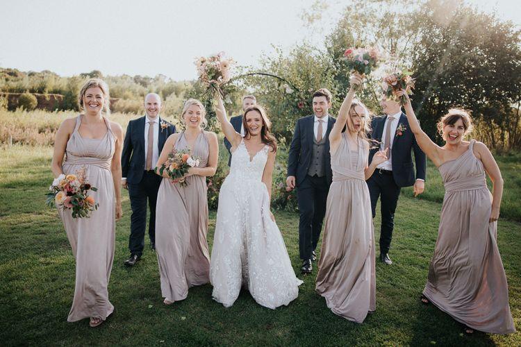 Wedding party portrait at Willow Marsh Farm 2020 wedding