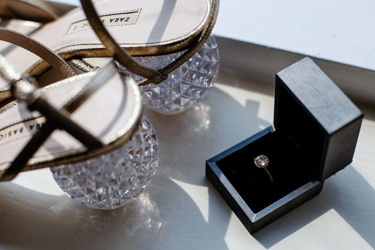 Glass heels on Zara bridal shoes