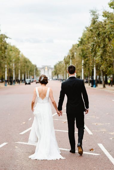 Bride and groom portrait on The Mall in London