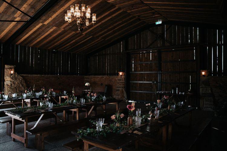 Socially distanced wedding reception tables at Willow Marsh Farm