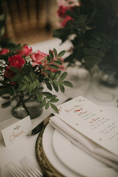 Place names and menu cards at place setting