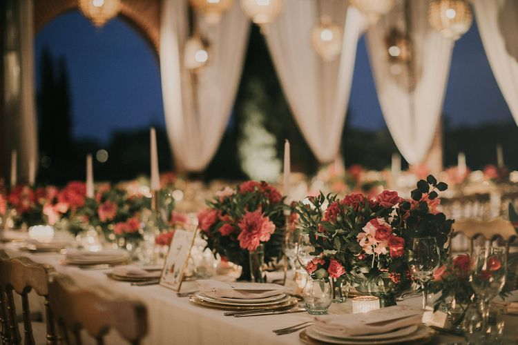 Elegant place settings at Marrakech wedding
