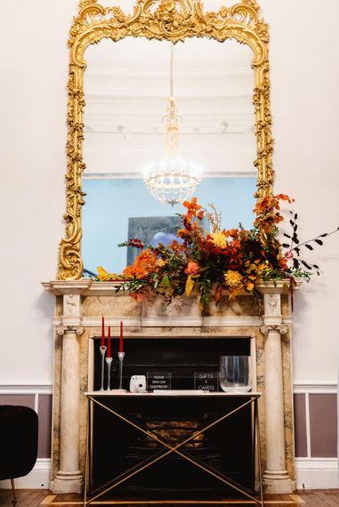 Fireplace flowers at Carlton House Terrace wedding