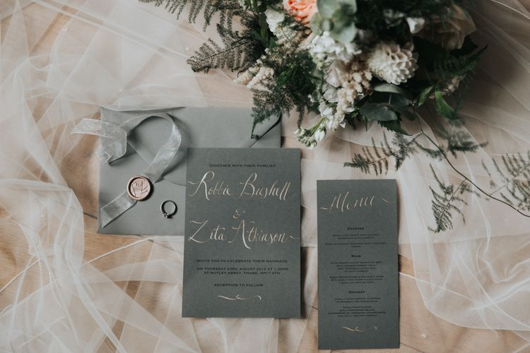 Homemade grey wedding stationery suite