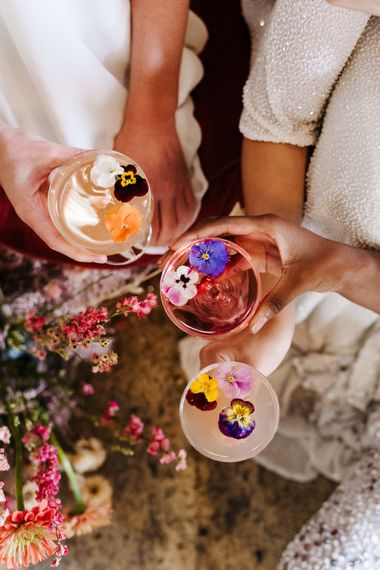 Wedding drinks filled with edible flowers