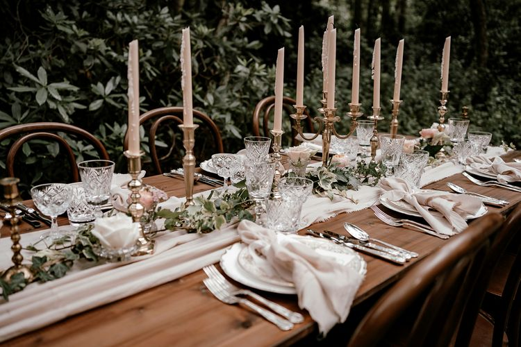 Silver candelabras for vintage tablescape