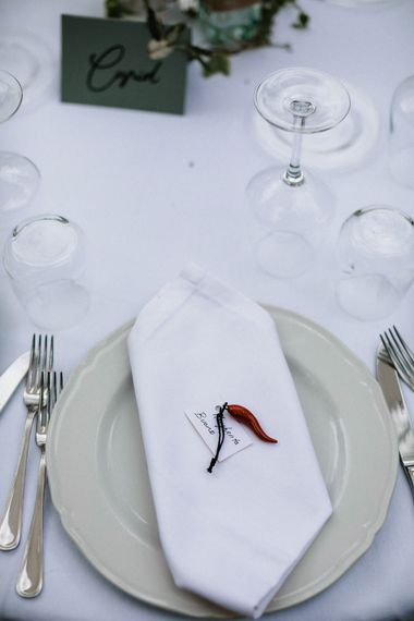 Place setting with individual wedding favour