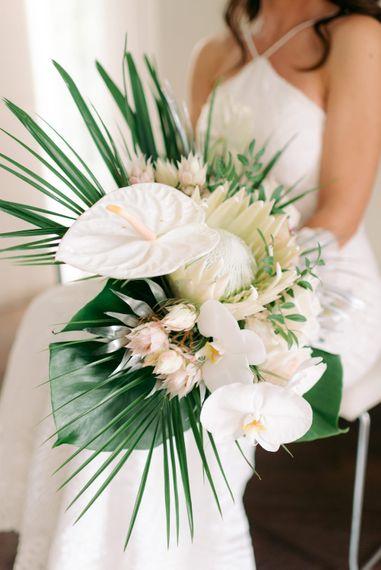 King protea cape artichoke botanicals for tropical wedding theme