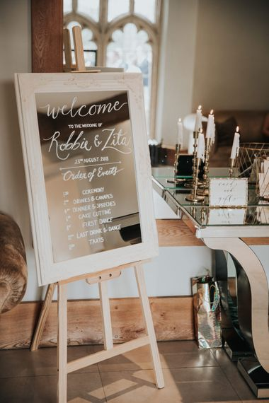 Mirror Order of the Day wedding sign