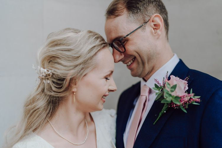 Bride and groom at intimate London wedding
