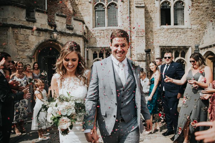Notley Abbey confetti moment by Natalie J Weddings