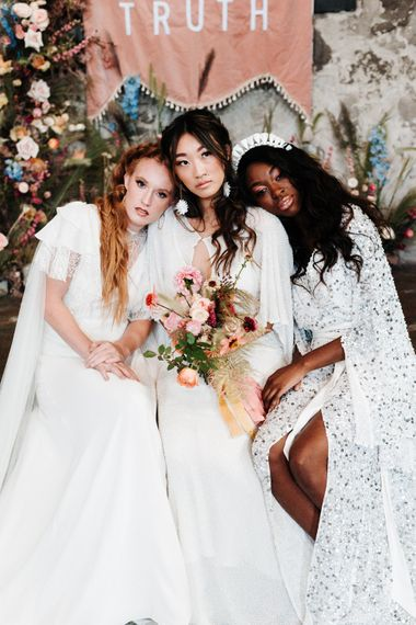 Wedding inspiration with three brides in different wedding dresses by Poppy Perspective