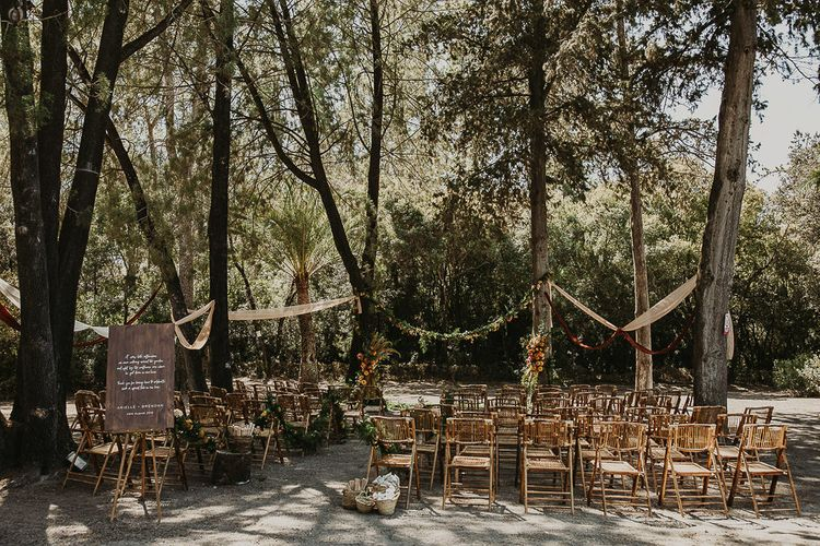 Outdoor forest wedding planned by Open The Door Events for Andalusia wedding