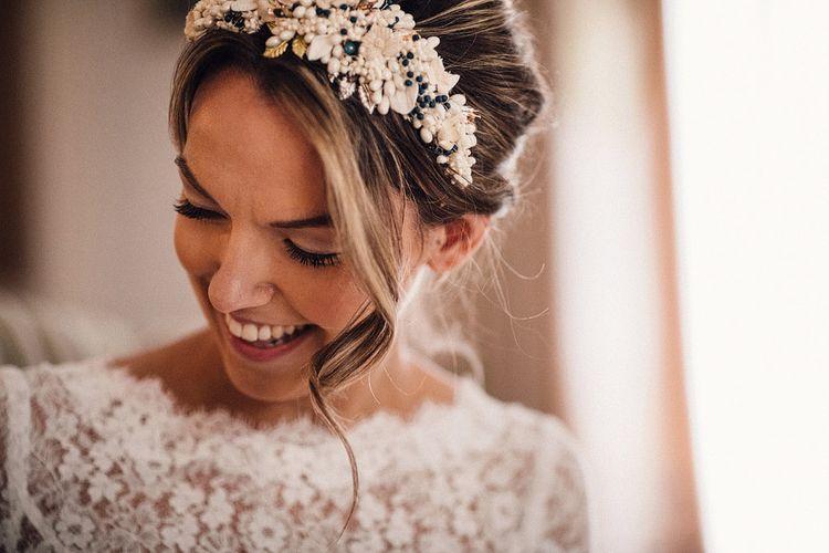 white bridal headdress