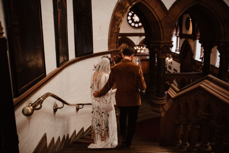 Chester Town Hall micro wedding with bride in embroidered veil