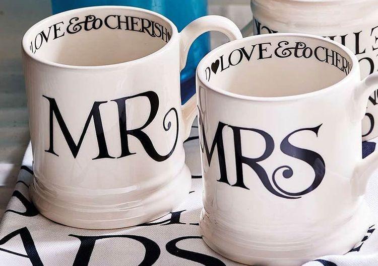 the wedding shop emma bridgewater mr  mrs mugs