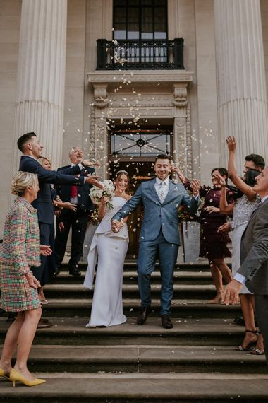 Confetti moment at Old Marylebone Town Hall micro wedding