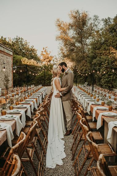 Bride and groom at their outdoor Andalusia wedding reception