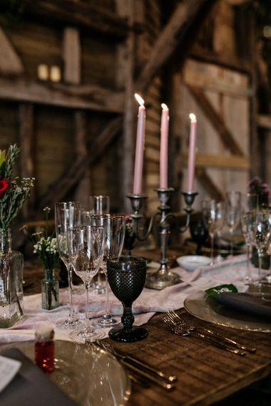 2020 micro wedding decor at High Billinghurst Farm barn reception