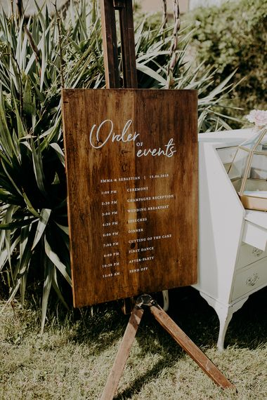 Order of the Day wooden wedding sign