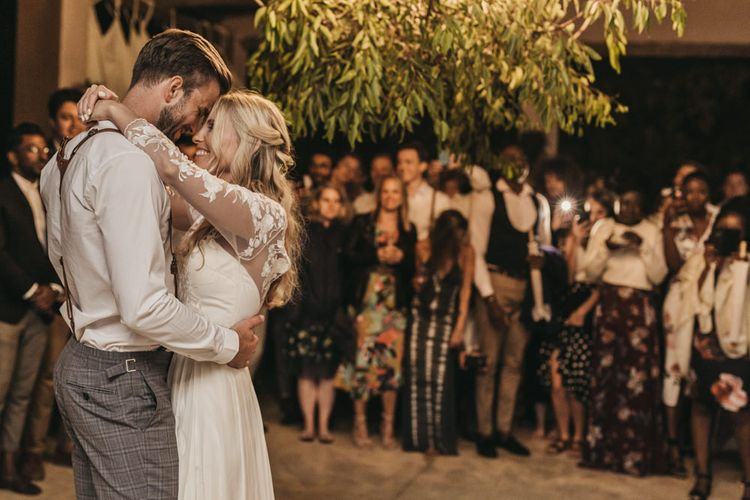 Bride and groom kiss at South Africa wedding