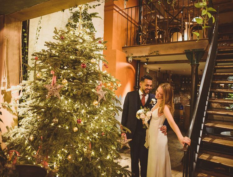 Newly-wed couple at Christmas Wedding in Chelsea