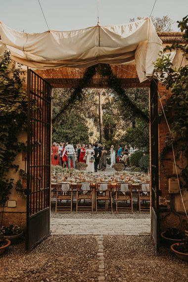 Outdoor wedding reception at Private Cortijo in Andalusia, Spain