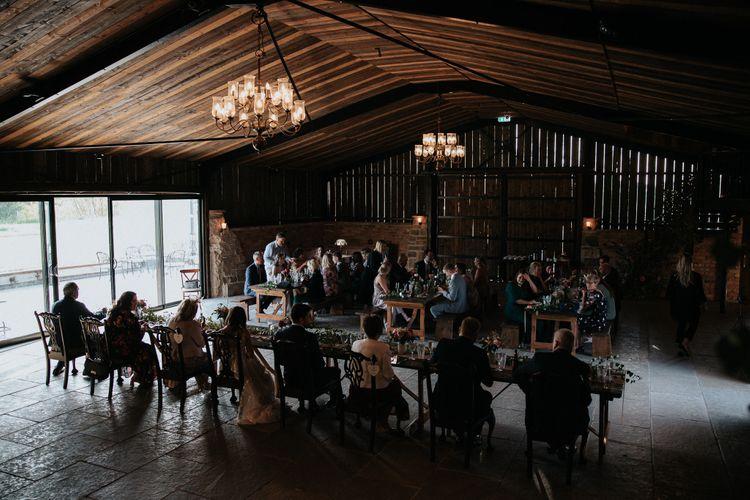 Barn wedding reception at Willow Marsh Farm