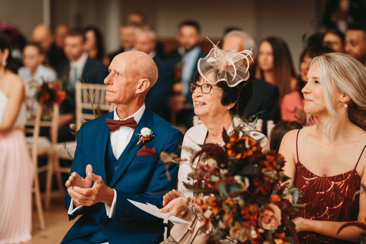 Mother and father of the bride at autumn Millbridge Court wedding