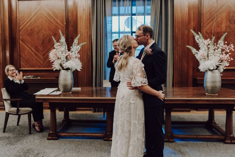 Bride and groom at town hall wedding in London
