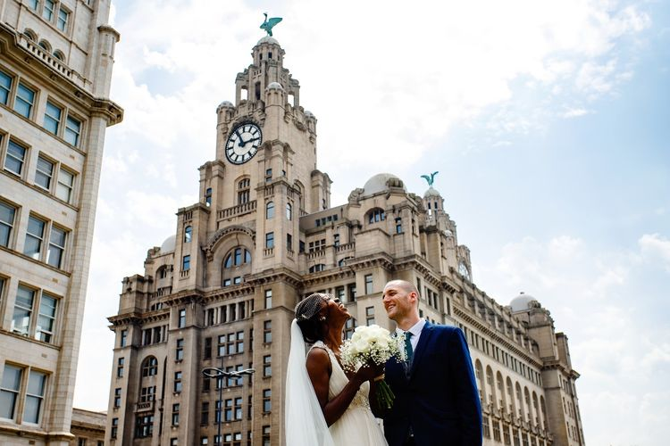 Bride and groom portrait in the city of Liverpool