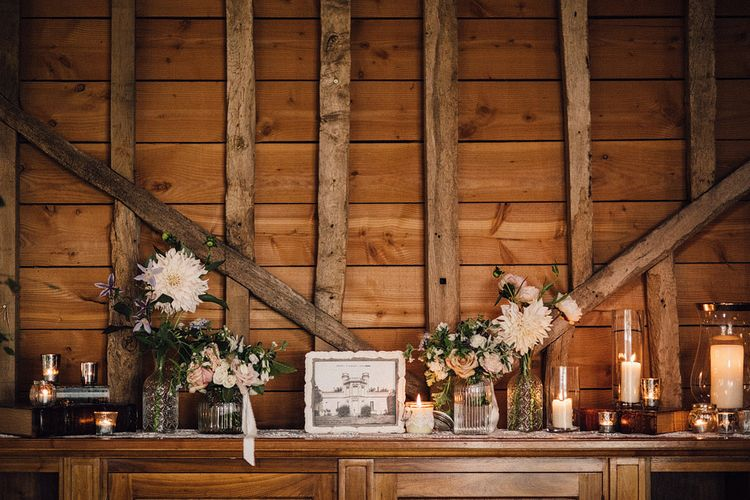 Rustic wedding decor at The Long Barn wedding reception