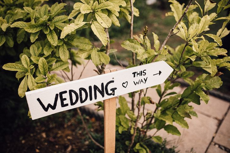 Wooden wedding signage