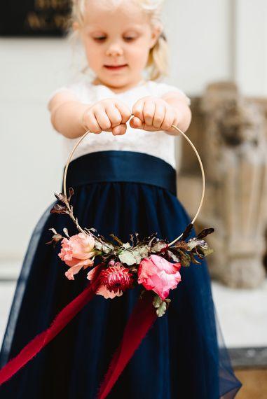 Hoop bouquet for flower girl