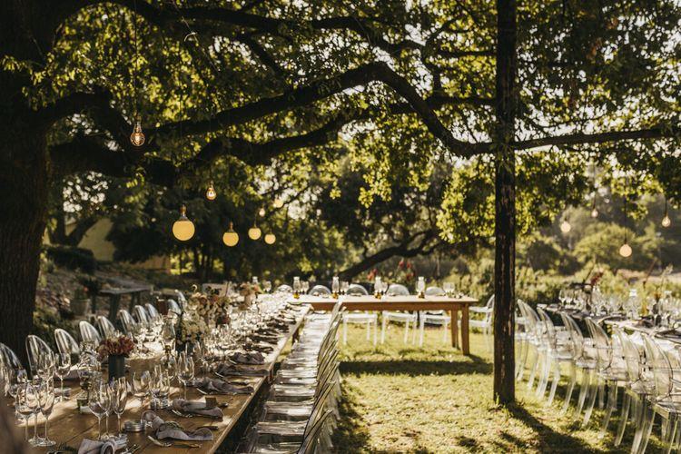 Beautiful wedding table decor at vineyard wedding