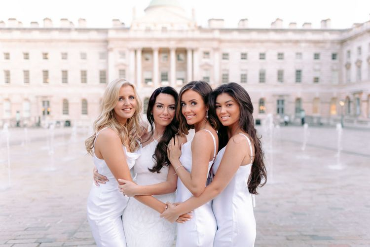 Bridal party photography at Somerset house with white bridesmaid dresses
