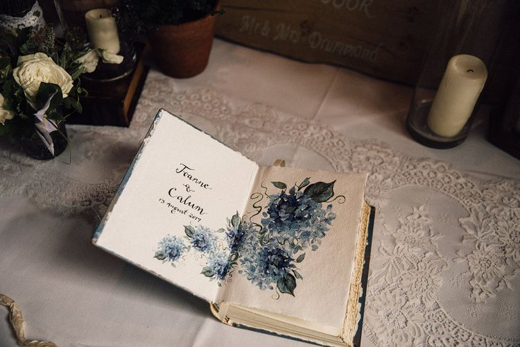 Guest book at The Long Barn wedding