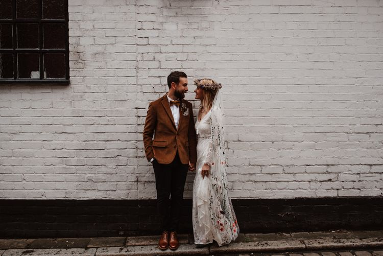 bride and groom urban portraits by Taylor-Hughes Photography
