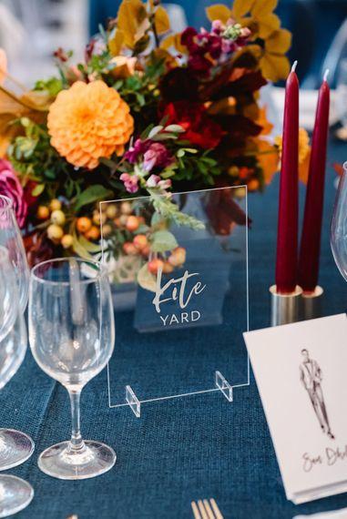 Acrylic table name sign at Carlton House Terrace black tie wedding