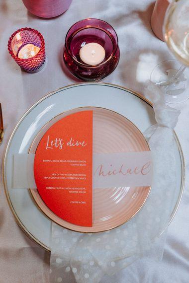 Semi circle wedding menu at place setting