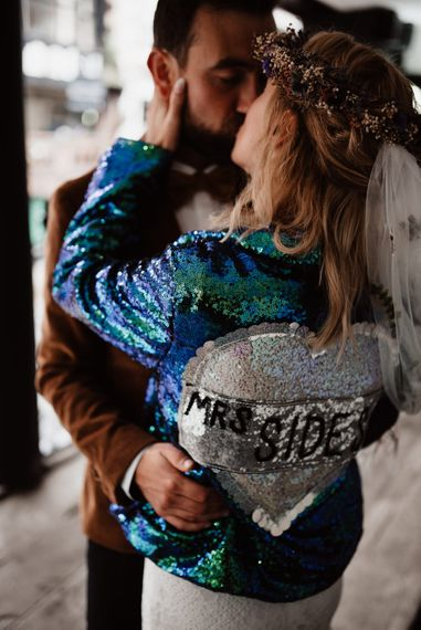 Blue sequin wedding jacket for the bride