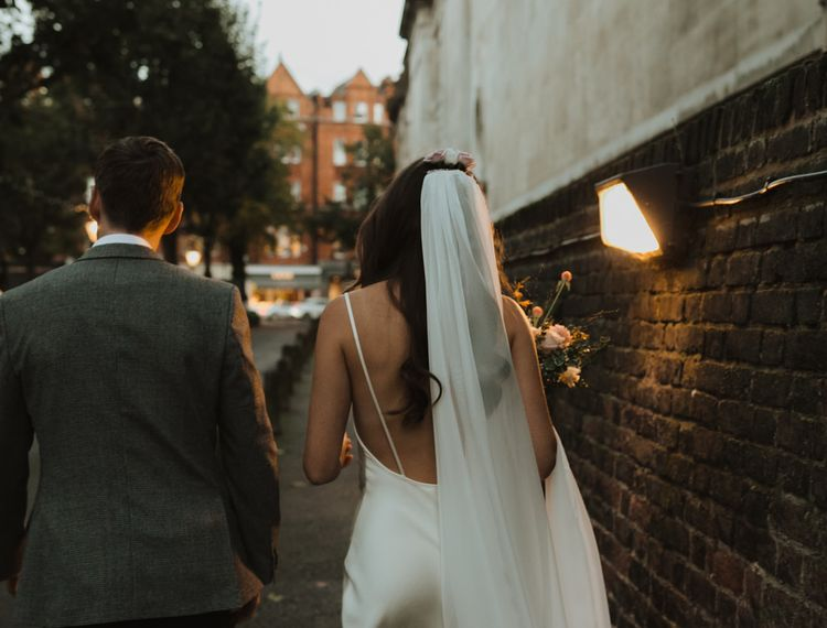 Bride and groom portrait at dusk by Alba Turnbull Photography