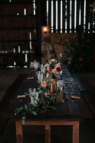 Floral centrepiece wedding decor at Willow Marsh Farm wedding reception