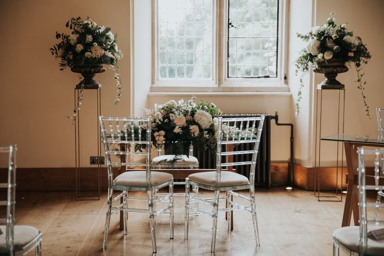 Ghost chairs at Notley Abbey wedding ceremony