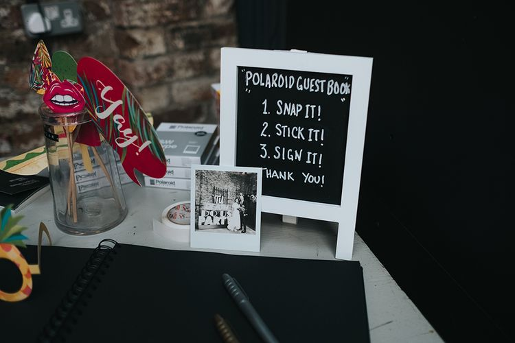 Polaroid wedding guest book for budget wedding