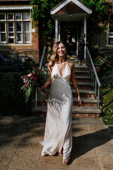 Bride in satin ASOS wedding dress at Micro wedding