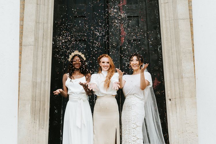 Wedding inspiration with three brides in casual wedding dresses