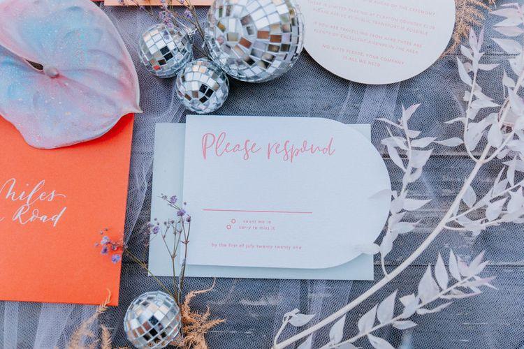 Pastel wedding stationery suite RSVP card